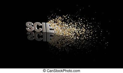 particules, 3d, texte, science, dissoudre