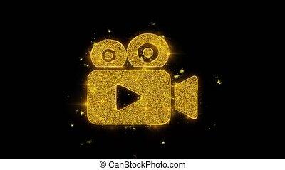 particules, arrière-plan., appareil photo, icône, étincelles, noir, vidéo