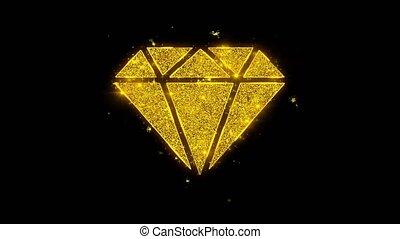particules, arrière-plan., icône, étincelles, diamant, noir