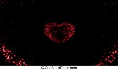 particules, coeur, fait, fait boucle, rouges