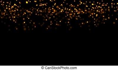 particules, doré, tomber, étincelant