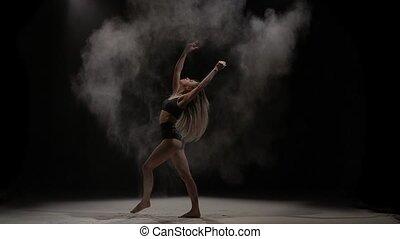 particules, femme, lancement, air., mouvement, lent, poussière, sensuelles