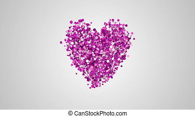 particules, forme coeur, ralenti