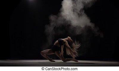 particules, lent, sportif, lancement, air., mouvement, danseur, poussière