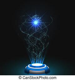 particules, libéré, énergie, essaim