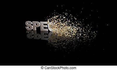particules, spécial, dissoudre, texte, 3d