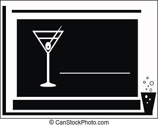 partie cocktail, black-white, carte