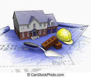 partiel, maison, effet, aquarelle, construction, sous, 3d