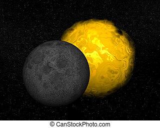 partiel, render, -, éclipse, soleil, 3d
