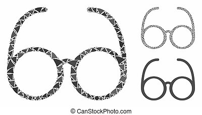 parties, icône, irrégulier, lunettes, mosaïque