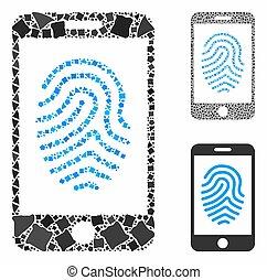 parties, icône, mosaïque, empreinte doigt, mobile, autorisation, joggly