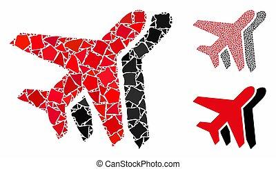 parties, icône, mosaïque, irrégulier, avions
