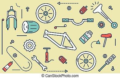 parties, illustration., vélo