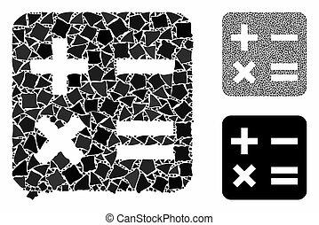 parties, mosaïque, irrégulier, calcul, icône