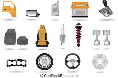 parties, voiture, détaillé, illustrations