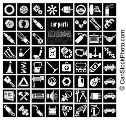 parties, voiture, outils, accessoires