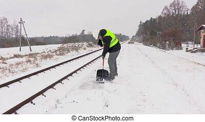 partir, neige, propre, employé, ferroviaire, chemin fer