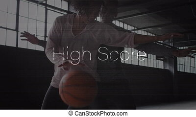 partition, femme, homme, sur, mots, basket-ball, jouer, élevé, animation