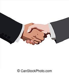 partnership., vecteur, illustration., croquis, handshake.