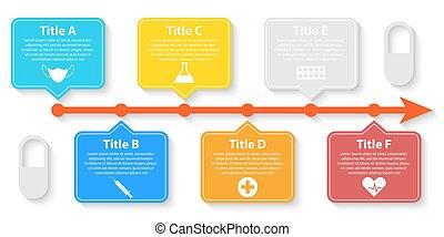 parts., cercle, options, healthcare, diagramme médical, infographic, 6, design., ou, gabarit, vecteur, concept, étapes, toile, diagramme, cycle, graphique
