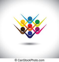 partying, concept, représenter, résumé, &, gens, aussi, excité, boîte, coloré, jouer, illustration, graphique, children., exulté, gosses, personnel, ceci, employés, etc, vecteur, amis, heureux, ou
