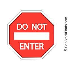 pas, blanc, avertissement, entrer, signe