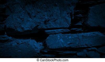 passé, ancien, mur, sombre, en mouvement, rocher