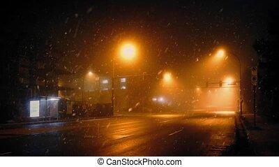 passé, autobus, temps, conduit, neigeux