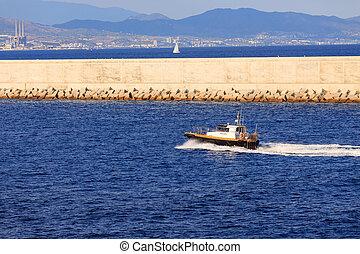 passé, bateau, barcelone, seawall, pilote