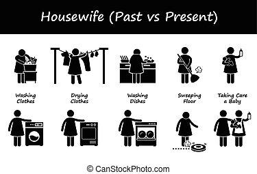 passé, contre, femme foyer, présent