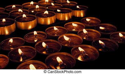 passé, en mouvement, religieux, exposer, bougies