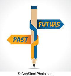 passé, flèche, crayon, avenir