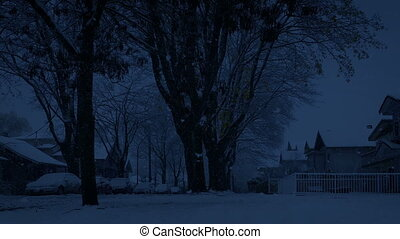passé, maisons, lourd, en mouvement, chute neige