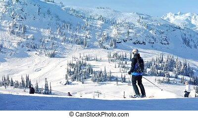 passé, montagnes, soleil, ski, gens
