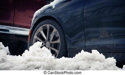 passé, voiture, en mouvement, neige