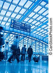 passager, aéroport, capital