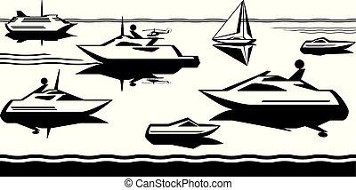 passager, bateaux, mer, yachts
