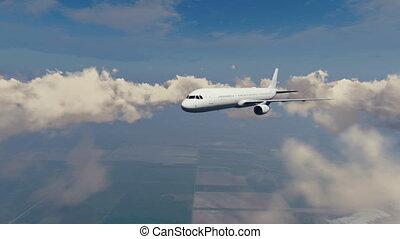 passager, ciel, nuages, 4k, avion ligne