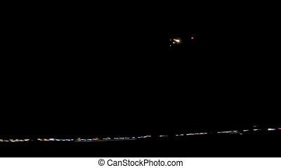 passager, ciel nuit, avion ligne