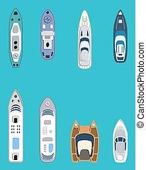passager, ensemble, transport, liners., set., yachts, ships., mer