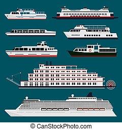 passager, infographic, bateaux