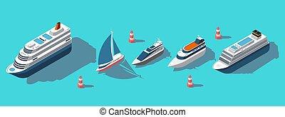passager, isométrique, ensemble, yachts, bateaux, vecteur, bacs, bateaux