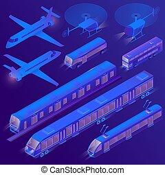 passager, isométrique, transport terre, air, vecteur, 3d