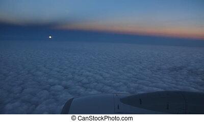 passager, jet., vue, entiers, moon.