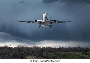 passager, nuages, voler, ciel, blanc, avion
