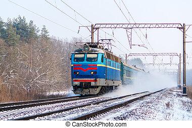passager, rapidement, piste, neige, train, en mouvement, long