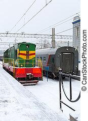 passager, station, train
