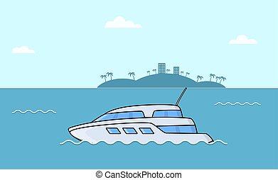 passager, transport, océan, liner., ships., luxe, mer, yacht.