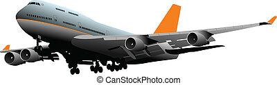 passager, vecteur, illustra, avion.