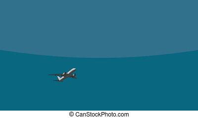 passager, vol ciel, avion ligne, grand, travers